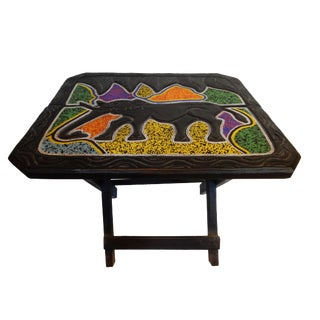 African Beaded Wood Folding Accent Table Ghana