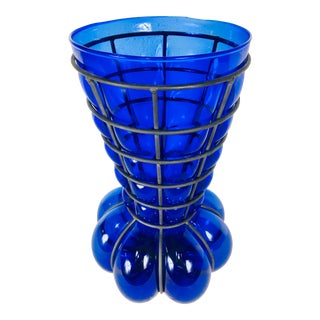 1990's Vintage Italian Handblown Cobalt Blue Vase