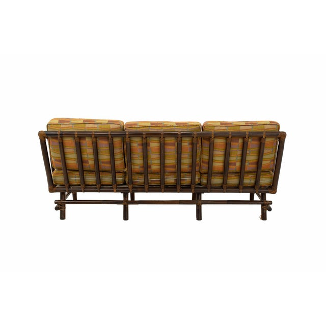 Asparagus John Wisner for Ficks Reed Style Bamboo Mid Century 3-Seater Sofa For Sale - Image 8 of 9