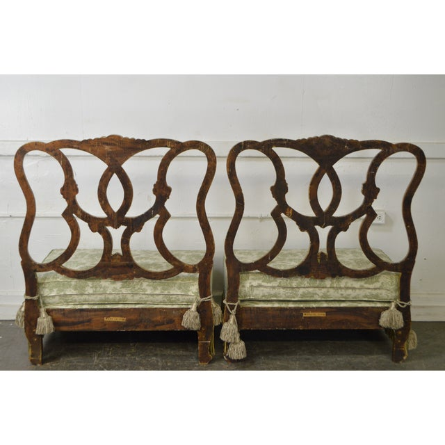 Antique Italian Painted & Upholstered Foyer Settees Benches - A Pair For Sale - Image 4 of 10