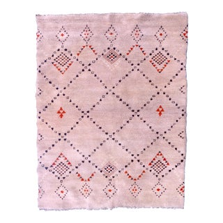 Vintage Mid-Century Sand Colored Beni-Ouarain Berber Moroccan Rug For Sale