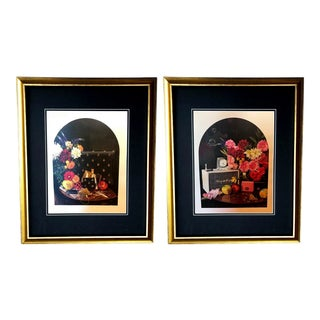 Framed Gucci Floral Vintage Radio Bee Purse Vignette Illustration Art - a Pair For Sale