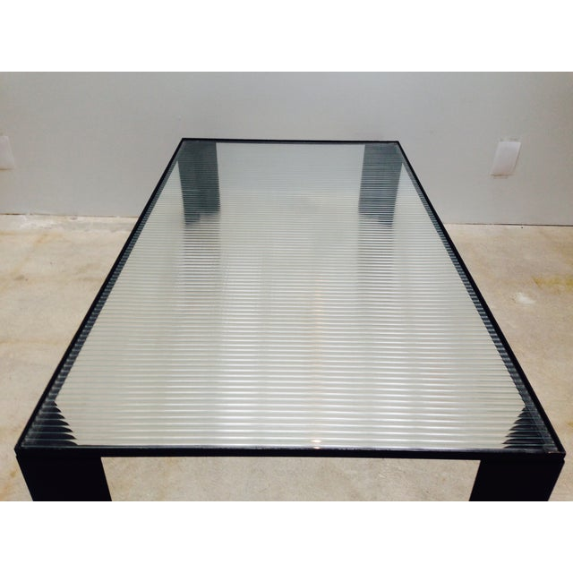Italian Black Cocktail Table with Rib Glass Top For Sale - Image 7 of 9