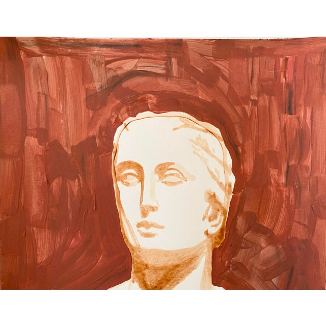 Ancient Roman Woman Sculpture Painting, Acrylic on Paper For Sale - Image 4 of 9