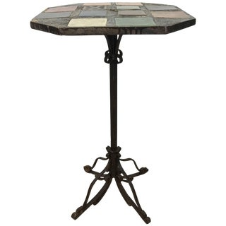 Stunning Arts and Crafts Iron and Tile-Top Stand or Table Italy For Sale