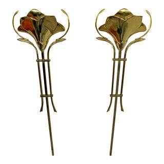 1960s Mid-Century Modern Frederick Cooper Hanging Brass Wall Sconces - a Pair