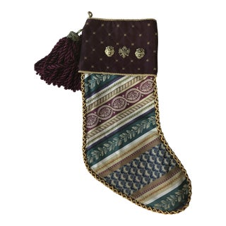 Christmas Tapestry Tree Stocking With Lion Heads and Double Headed Eagle For Sale