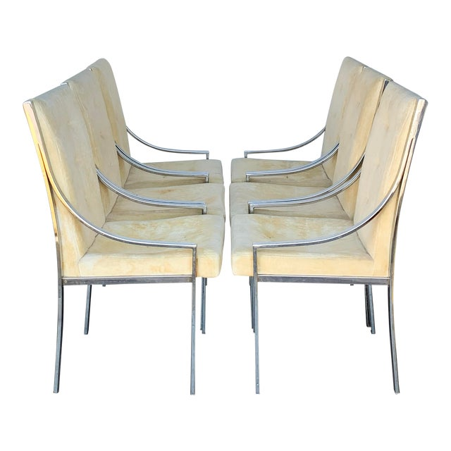 Set of 6 Chrome Dining Chairs Attributed to Milo Baughman For Sale