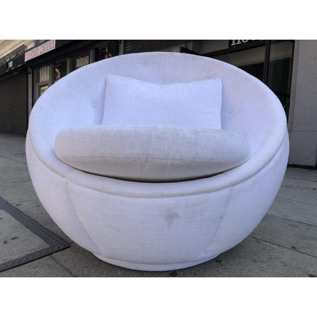 "Wood Stunning ""Egg"" Swivel Chair by Milo Baughman for Thayer Coggin For Sale - Image 7 of 11"