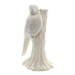 70's Fitz and Floyd Blanc De Chine Fine Porcelain Parrot Candlestick Holder For Sale