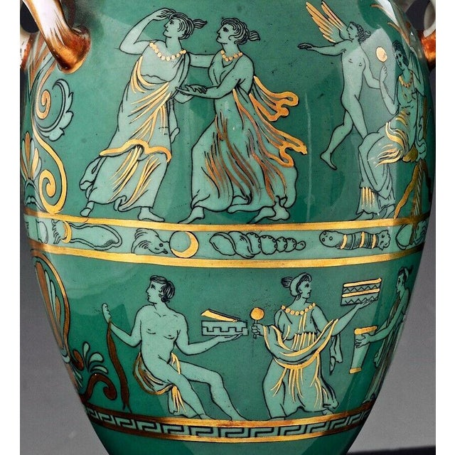American English Porcelain Neoclassical Jade Green-Ground Vases - a Pair For Sale - Image 3 of 8