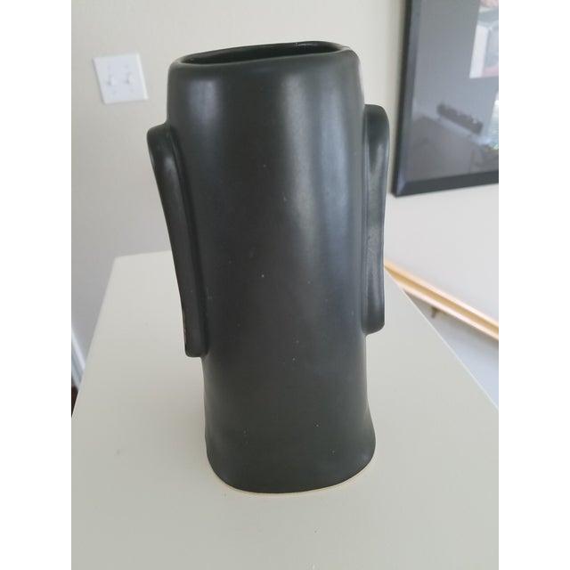 Mid-Century Modern Matte Black Face Vase For Sale - Image 5 of 6