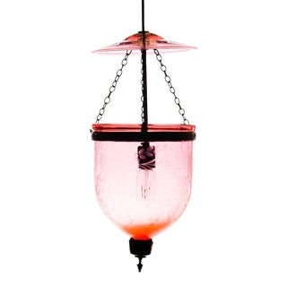 Ruby Red Bell Jar Lantern Pendant For Sale