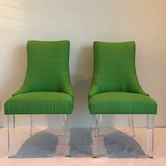 Green Silk Acrylic Chair - Image 6 of 9