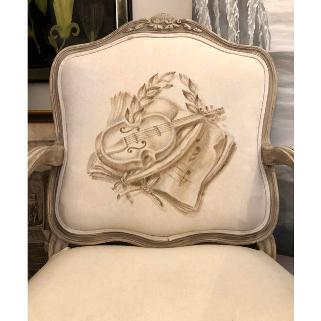 Italian Mid-Century Louis XV Style Hand-Painted Fauteuils - a Pair For Sale - Image 9 of 13