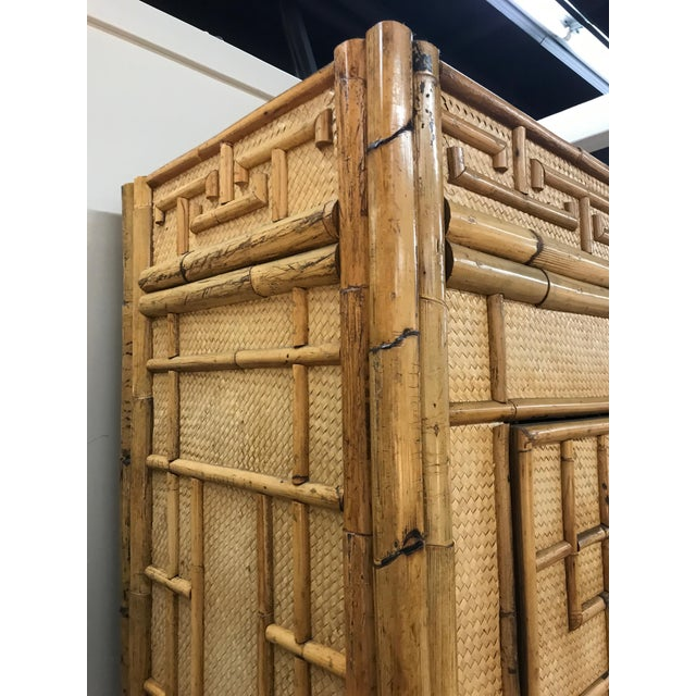 Vintage Rattan Bamboo Armoire Cabinet With Lucite And Brass Handle - Image 9 of 11