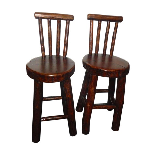 Pair of Rustic Log /Hickory Bar Stools w/ Pllank Seats For Sale