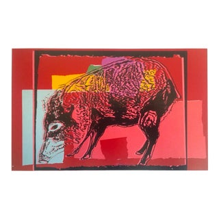 "Andy Warhol Estate Rare Vintage 1991 Collector's Lithograph Print "" Giant Chaco Peccary - Vanishing Animals "" 1986 For Sale"