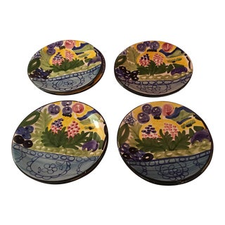 Hand Painted Favanol Martinique Dessert Plates - Set of 9 For Sale