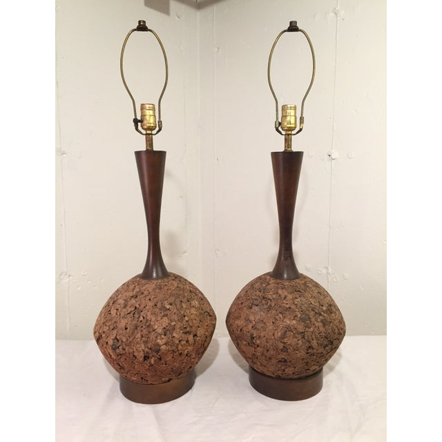 Mid-Century Modern Cork Lamps - Image 2 of 3