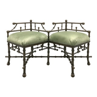 Vintage Faux Bamboo Iron Bench With Velvet Cushions For Sale