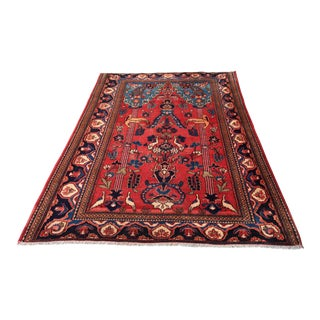 1900s Antique Turkoman Anatolian Animal Patterned Rug - 5′3″ × 6′3″ For Sale