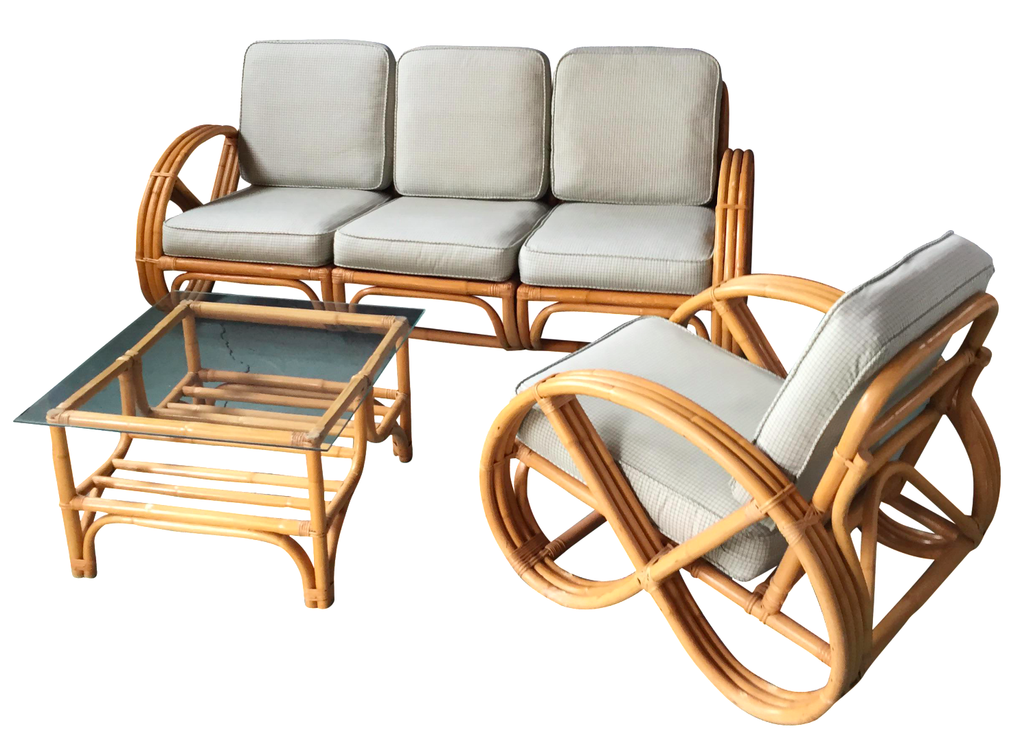 Pretzel Arm Rattan Bamboo Sofa   Set Of 3