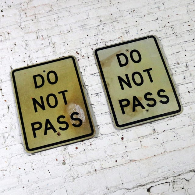 Vintage Do Not Pass Metal Traffic Signs For Sale - Image 4 of 13