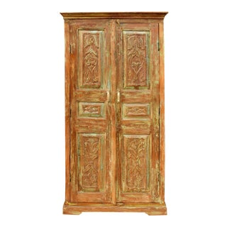 1920s Rustic Farmhouse Floral Carved Cabinet Armoire For Sale