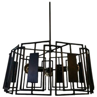 Trellis Chandelier Faux Bois Iron by Paul Marra For Sale