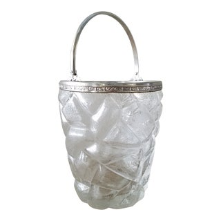 "Vintage ""Geometric Ice"" Glass Ice Bucket For Sale"