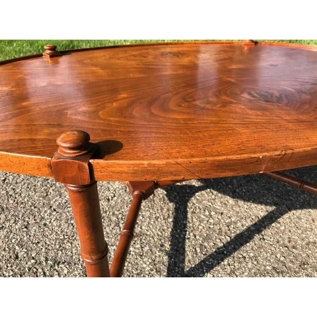 Wood Oval Walnut Coffee Table For Sale - Image 7 of 9