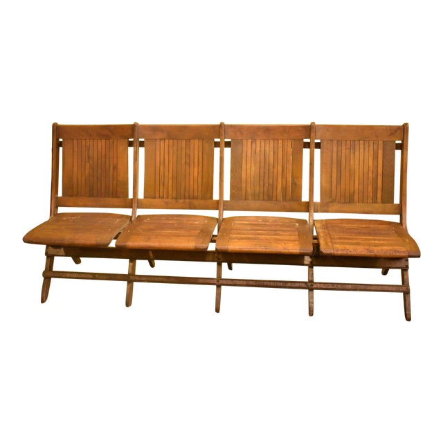 Wooden Slat Folding 4 Seat Movie Bench Scranton Chairish