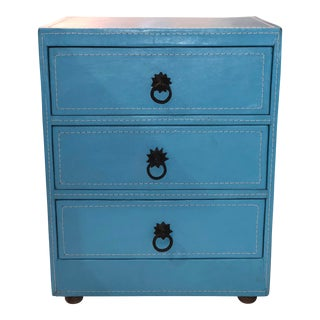 Blue Leather Chest of Drawers For Sale