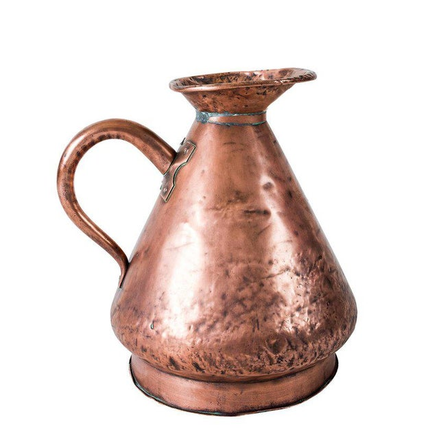 Large Four Gallon Victorian English Copper Ale-Beer Measuring Jug For Sale In Los Angeles - Image 6 of 11