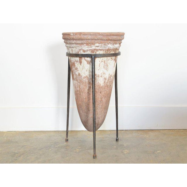 Rustic Antique Terra Cotta Waterfilter in Iron Stand For Sale - Image 3 of 3