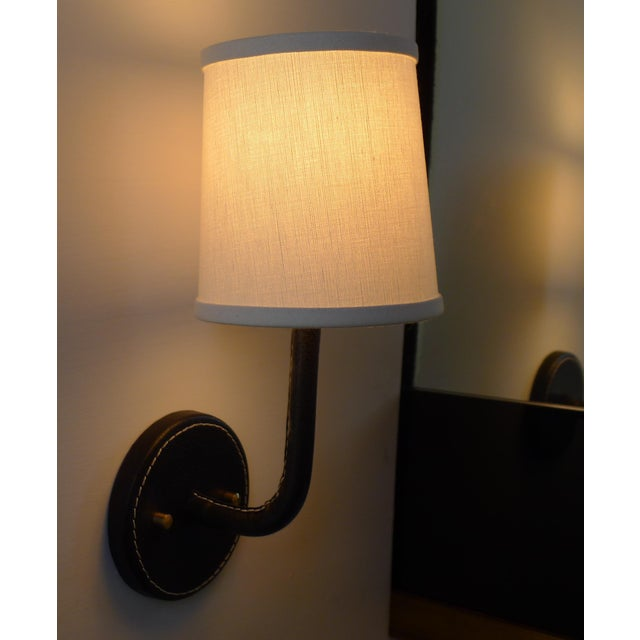 Metal Paul Marra Top-Stitched Leather Wrapped Sconce in Black For Sale - Image 7 of 12