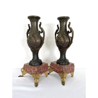 Italian Metal Ware Vases / Urns on Pink Marble & Gilt Bases - a Pair Preview