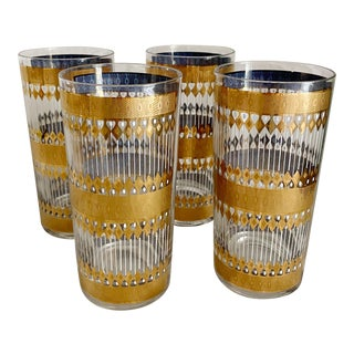 Culver Signed Mid-Century Gold and White Highball Glasses - Set of 4 For Sale