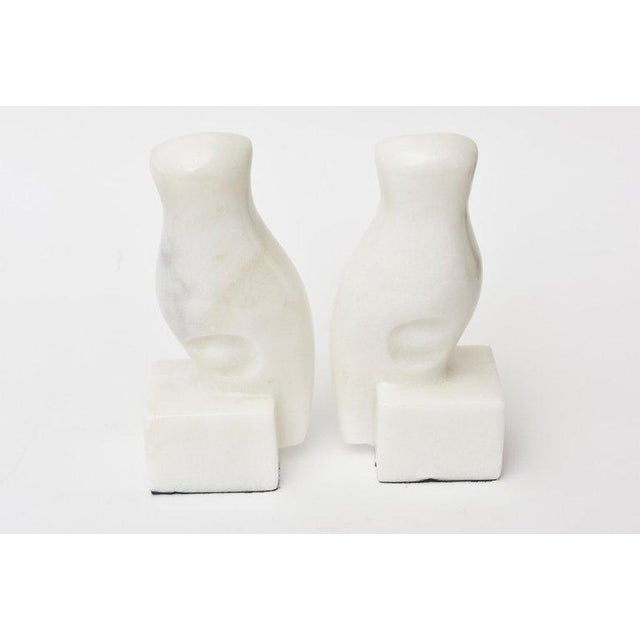 White Marble Owl Bookends - a Pair For Sale - Image 4 of 9