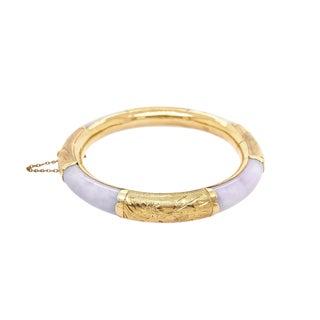 Chinese 14k Gold Lavender Jade Bangle Bracelet For Sale