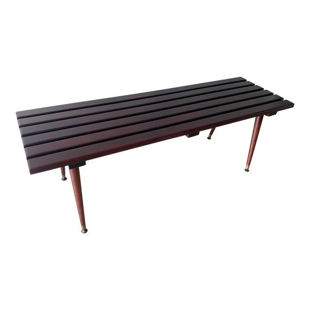Mid Century Refinished Slat Bench For Sale
