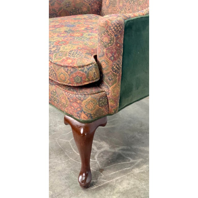 Green Vintage Mahogany Frame Chippendale Style Upholstered Wingback Chair For Sale - Image 8 of 11