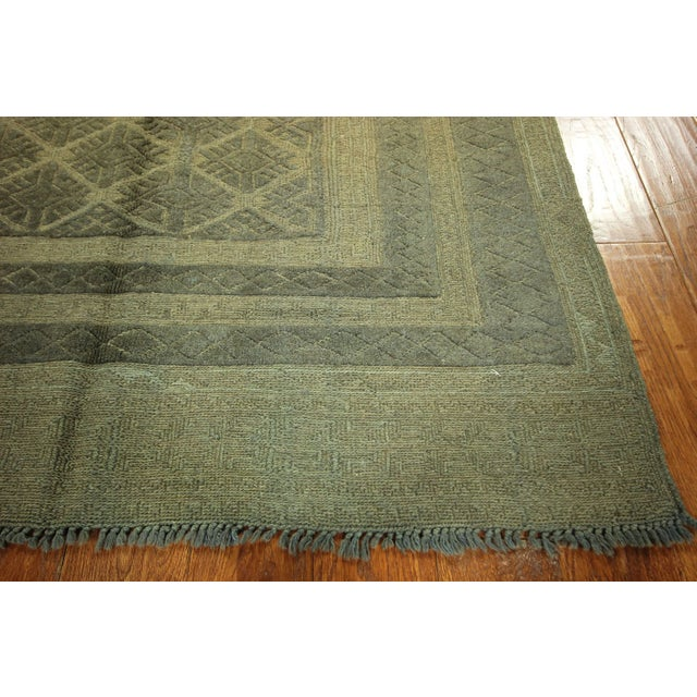"Overdyed Geometric Green Wool Rug - 4'6"" x 6' - Image 6 of 8"