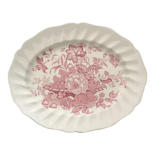 Pink Transfer-Ware English Platter - Image 1 of 5