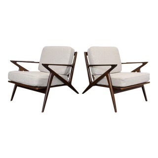 Pair of Mid-Century Danish Modern Poul Jensen Selig Z Lounge Chairs For Sale