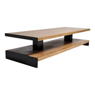 Modern Oak Wood Coffee Table With Metal Trim For Sale