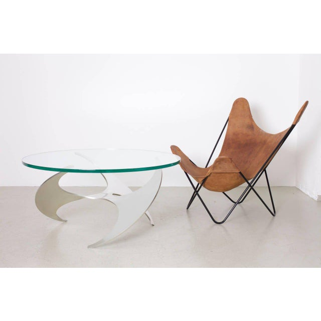 Aluminum and Glass Propeller Coffee Table by Knut Hesterberg for Ronald Schmitt For Sale - Image 6 of 7