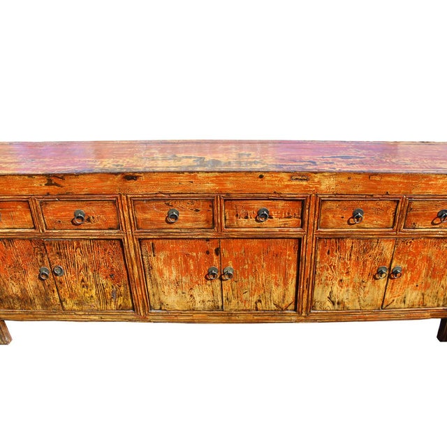 Chinese distressed rustic orange sideboard cabinet chairish for Sideboard orange