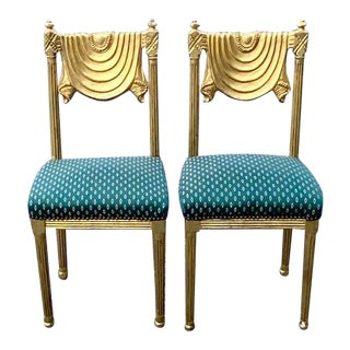 Hollywood Regency Gold Leaf and Gesso Swag Chairs - a Pair For Sale